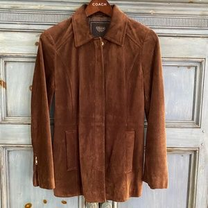 Coach deep rust suede zip up jacket size XS